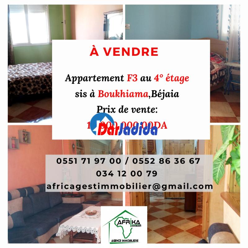 Vente Appartement F3 Boukhiama, ville de Béjaia Béjaïa Bejaia