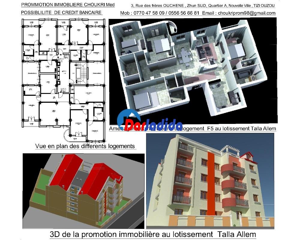 Vente Appartement F5 Tizi-ouzou