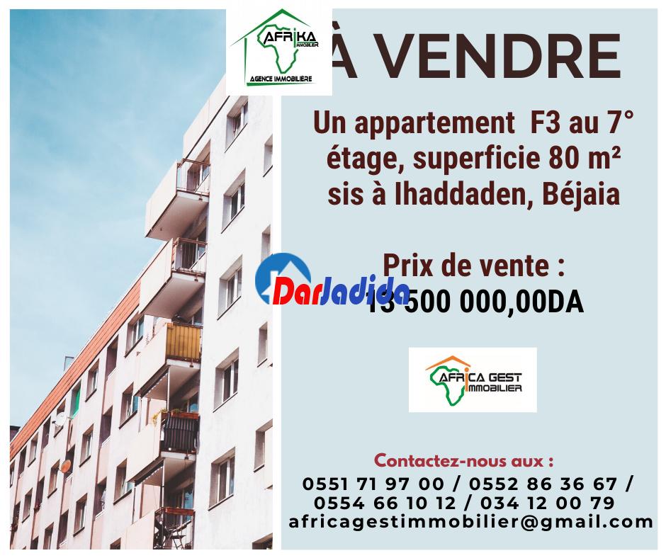 Vente Appartement F3 Ihaddaden Béjaïa Bejaia