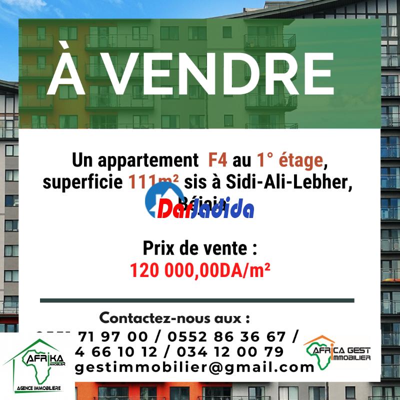 Vente Appartement F4 Sidi-Ali-Lebher Béjaïa Bejaia