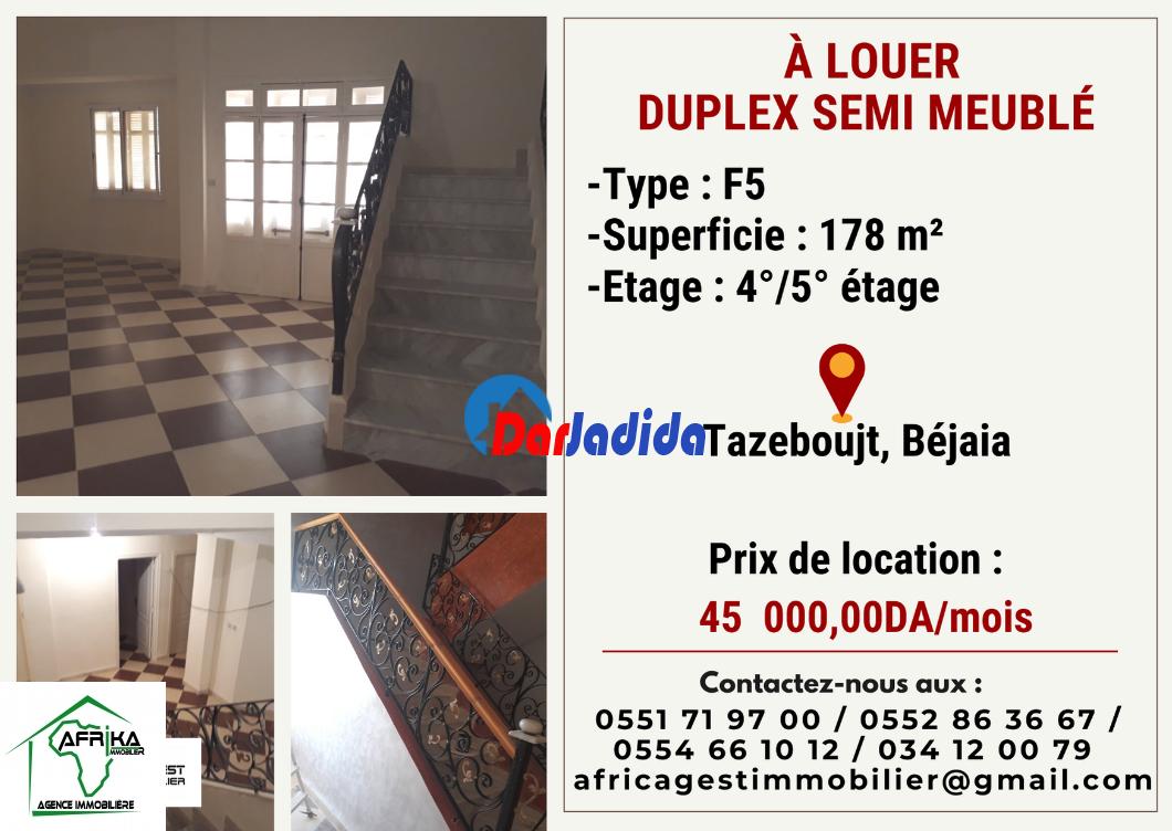 Location Appartement F5 Tazeboujt Béjaïa Bejaia