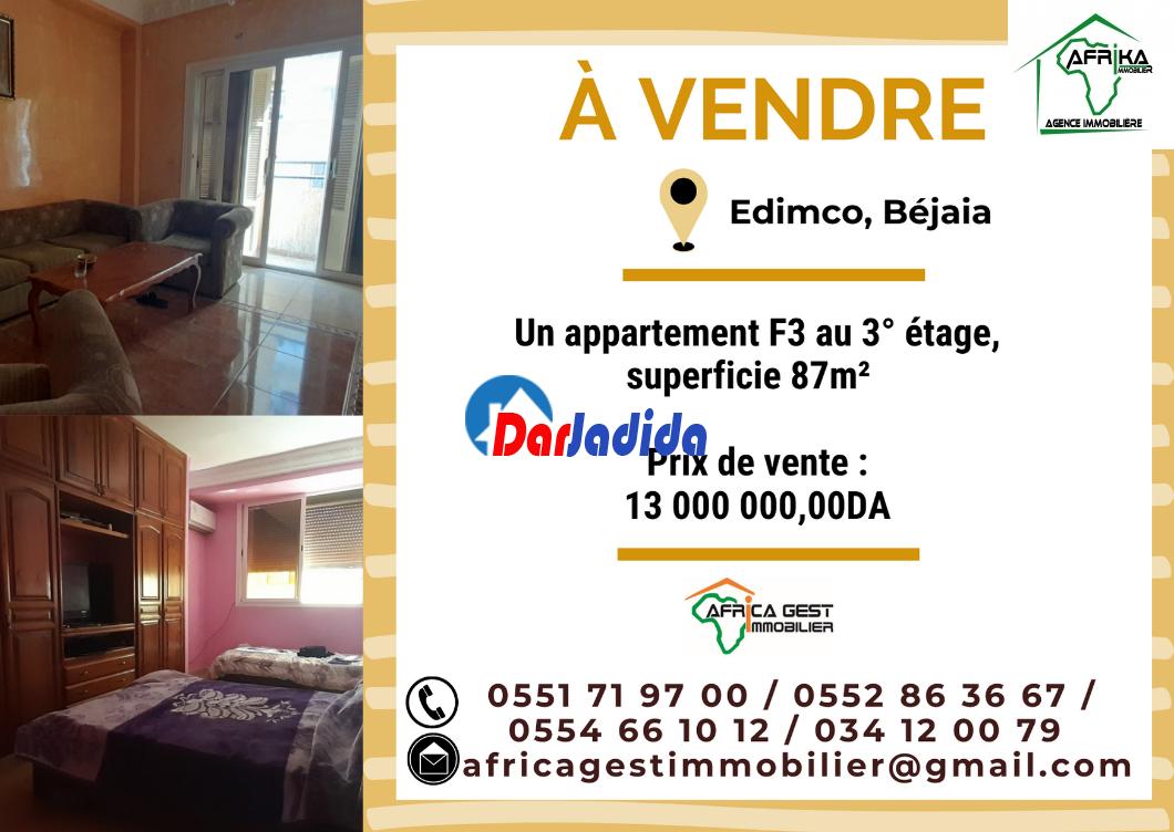Vente Appartement F3 Edimco Béjaïa Bejaia