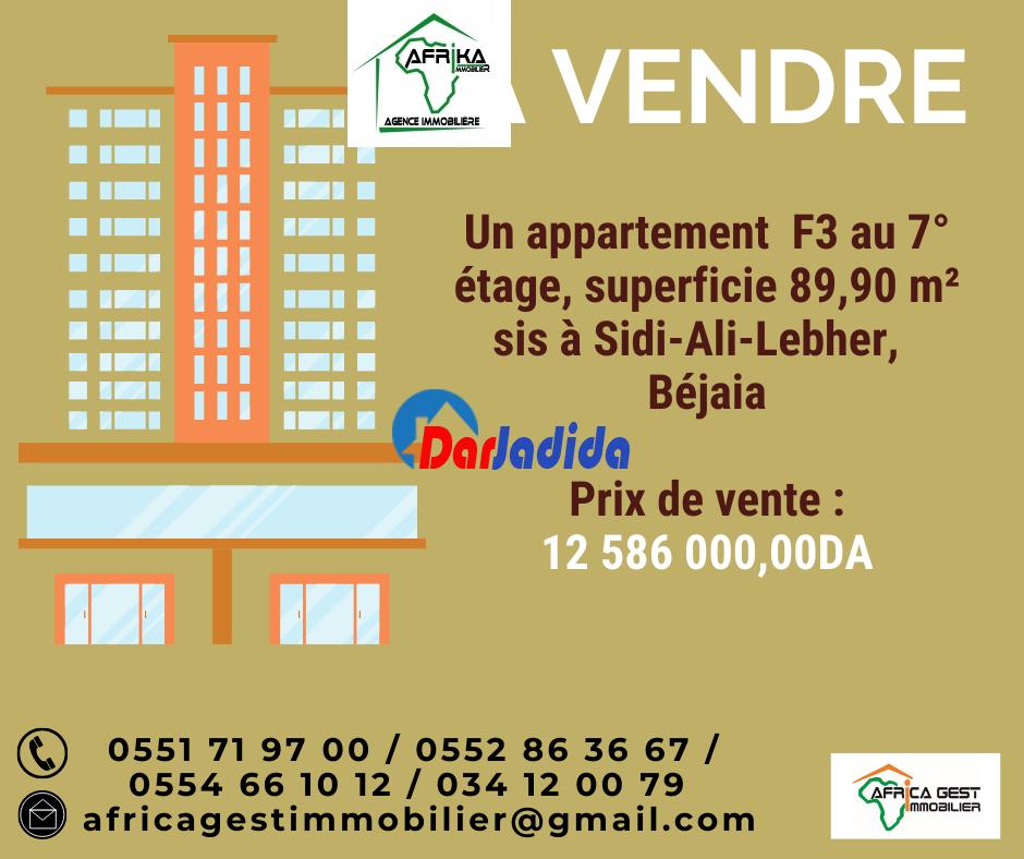 Vente Appartement F3 Sidi-Ali-Lebher Béjaïa Bejaia