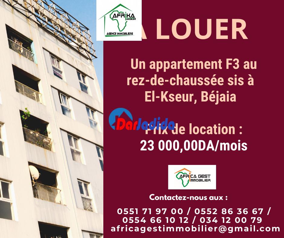 Location Appartement F3 El-Kseur El-Kseur Bejaia